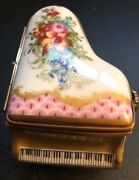 Limoges Marque Deposee Rehausse Grand Piano Miniature 24k Gold