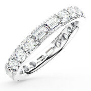 2.00ct Round And Baguette Cut Diamonds Full Eternity Wedding Ring In 9k White Gold