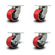 6 Inch Heavy Duty Red Poly On Cast Iron Wheel Swivel Caster Set With 2 Brakes
