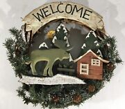 Christmas Winter Welcome Wreath 14 Decoration Wood Carved Moose Cabin