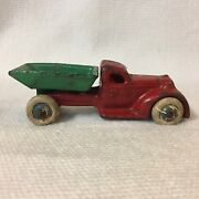 1 1930and039s Arcade Toy Red And Green Dump Truck Cast Iron B8232p Arcade 232p Usa