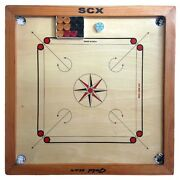 Carrom Board Game Gold Star 6mm Full Size W/ Wood Coins + Striker Best Gift