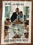 Original Wwii Ours...to Fight For - Freedom From Want Poster War Bonds World