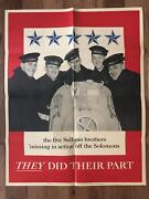 Original Wwii Five Sullivan Brothers They Did Their Part Poster War Bonds World