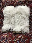 Dolce And Gabbana D And G White Winter Boots Shoes Real Fur Leather 40