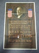 1917 2nd Liberty Loan Ny Tribune Wwi Poster With Woodrow Wilson Message Rare