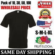 Pack Of 10 30 50 100 Fruit Of The Loom Mens Black S To Xl Wholesale T-shirt Tee