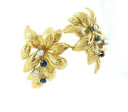 18k Yellow Gold Floral Sapphire And Diamond Earrings With Safe Omega Backing