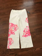 Nwt Inc Wide Leg White With Flowers Regular Fit Trouser Pants