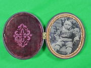 Antique Carved Metal Small Oval Picture Frame With Old Photo