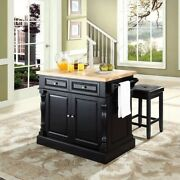 Crosley Oxford Butcher Block Top Kitchen Island With Square Stools In Black