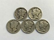 90 Percent Silver - Mercury Dimes - Lot Of 5 1920and039s Dates