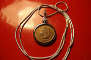 Pre 1907 Indian Head Penny Pendant 28 925 Sterling Silver Snake Chain