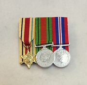 Mounted Ww2 Court Mounted Miniature Medals, Africa Star, Defence, War Medal