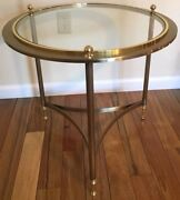 Design Institute Of America Mid Century Modern Round Brass Glass Side End Table