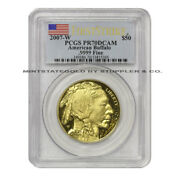 2007-w 50 Gold Buffalo Pcgs Pr70dcam Fs Flag Label First Strike West Point Coin