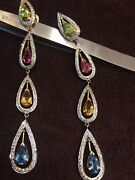 1.76 Cts Round Brilliant Cut Pave Diamonds Dangle Earrings In Hallmark 18k Gold
