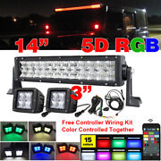 14inch 5d Rgb Led Light Bar And 2x 3 Pods Wireless Music Bluetooth Control