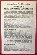 Lionel Gp-9 Road Switching Locomotive Instructions Sheet 2346-5 6/65