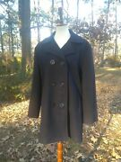 Lands End Pea Coat Womenand039s Large Vintage Navy Red Anchor Buttons Excellent Wool