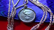 1913 Italian Flying Nude Coin Charm On A 24 925 Sterling Silver Rope Chain