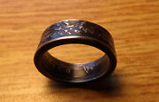 Silver Canada Coin Ring Antique Maple Leaf Design Black Silver Size 12