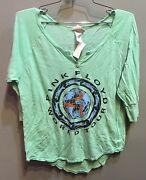 55 New Junk Food Brand Pink Floyd Group Graphic Solid Blue 3/4 Sleeve