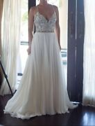 Hayley Paige Teresa T-strap Back Embellished Chiffon A -line Gown