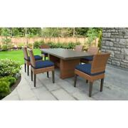 Laguna Rectangular Outdoor Patio Dining Table With 6 Armless Chairs In Navy