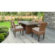 Laguna Rectangular Outdoor Patio Dining Table With 6 Armless Chairs In Beige