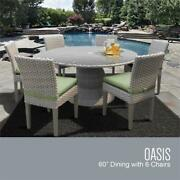 Florence 60 Outdoor Patio Dining Table With 6 Armless Chairs In Cilantro