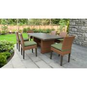 Laguna Rectangular Outdoor Patio Dining Table With 6 Armless Chairs In Cilantro
