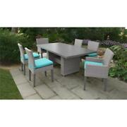 Florence Rectangular Patio Dining Table 4 Armless Chairs 2 Arm Chairs In Aruba