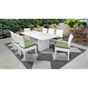 Monaco Rectangular Outdoor Patio Dining Table With 8 Armless Chairs In Cilantro