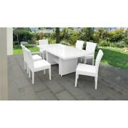 Monaco Rectangular Outdoor Patio Dining Table With 6 Armless Chairs