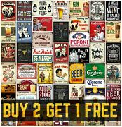 Metal Bar Signs Plaques Vintage Retro Grunge Style Gin Peroni Beer Mancave Home