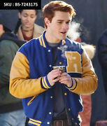 Riverdale Kj Apa Archie Andrews Blue Varsity Jacket With Pure Leather Sleeves