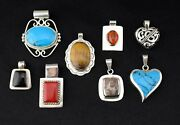 Set Of 8 Mexican Sterling Multi Stone Onyx Turquoise Tigers Eye Pendants - Heavy