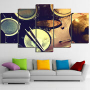 Metal Drum Music Artwork 5 Pieces Canvas Wall Art Hd Printed Poster Home Decor