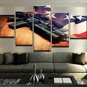 Fighting Gun Vintage American Flag 5 Pieces Canvas Art Print Picture Wall Decor