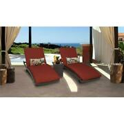 Belle Curved Chaise Set Of 2 Patio Furniture With Side Table In Terracotta