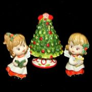 Vintage Ceramic Lefton Angel Figurines W Song Book, Harp And Christmas Tree