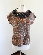 Figue Brown Orange Abstract Print Tie Neck Blouse Top Fringe Geometric Size Xs