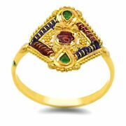Vintage Stylish 22kt Yellow Gold Hand Work Antique Color Enamel Ring Gifting
