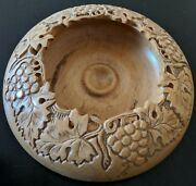 Hand Carved Wooden Bowl With Grape And Leaves Ornaments.
