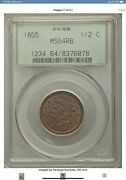 1855 Braided Hair 1/2c Half Cent Pcgs Ms64rb 1/2c Very Low Mintage Superb