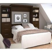 Bestar Pur 115 Queen Wall Bed With Storage And 3 Drawer Set In Chocolate