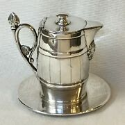Antique Silver Plate Syrup Pitcher And Liner  Reed And Barton Barrel And Indian