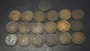 Lot Of 25 Small Cent Indian 1883 1889 1892 1895 1896 1895 1896 1897 1900 1901