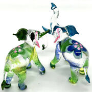 2 Elephants Figurines Animals Hand Painted Blown Glass Gold Trim Collectible
